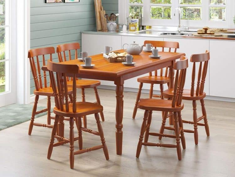 Móveis para cozinha - Conjunto Mesa 6 Cadeira Madeira Maciça