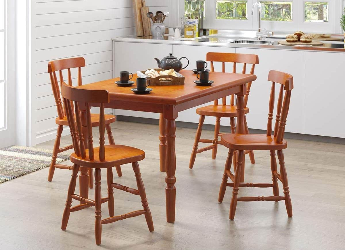 Conjunto Mesa Daiana 4 Cadeiras Madeira Maciça - Móveis Para Cozinha