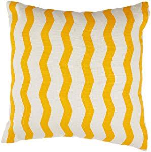 Almofada Estampada Artesanal Teares Amarelo,40x40 cm