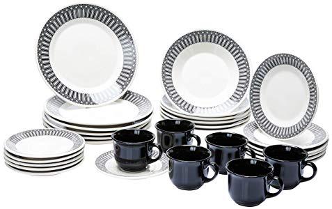 Aparelho de Jantar Chá 30 Peças Biona Nativa Branco/Preto