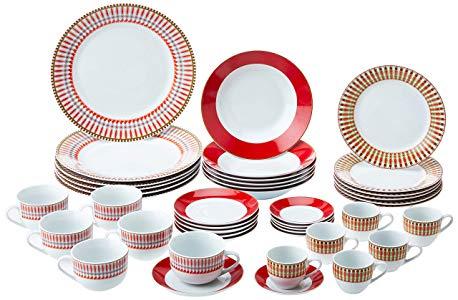 Aparelho de Jantar com 42 Peças de Porcelana Colorado Mail Box Lyor Vermelho Único