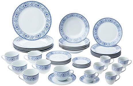 Aparelho de Jantar com 42 Peças de Porcelana Sintra Mail Box Lyor Azul e Branco Único