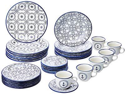 Aparelho de Jantar e Chá 30 Peças Oxford Daily Floreal Náutico Branco/Azul
