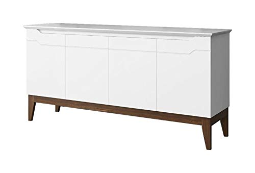 Balcão Buffet Retrô Horizon Branco com Castanho - Imaza Móveis