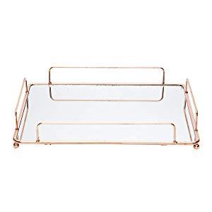 Bandeja Ferro com Espelho Retangular Cooper Wire Urban Cobre