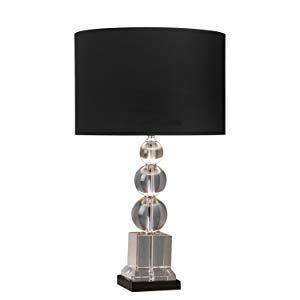 Base Para Abajur Bella Iluminação Cromado/ Preto/ Transparente Metal e Vidro