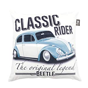 Capa de Almofada Poliéster Vw Fusca Classic Rider Urban Branco