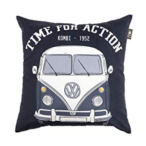 Capa de Almofada Poliéster Vw Kombi Time for Action Urban Preto