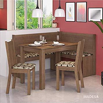 Conjunto Canto Alemão Mesa com 2 Cadeiras Liebe Madesa Rustic/Bege/Marrom