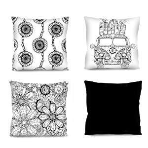 Conjunto de almofadas Boho preto e branco 4 Peças 42x42