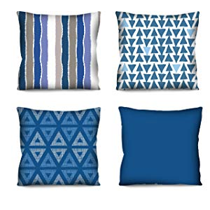 Conjunto de almofadas Geometricos Azuis 4 Peças 42x42
