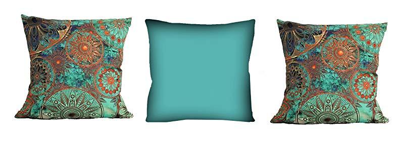 Conjunto de almofadas Mandala Azul 3 Peças 42x42