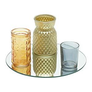 Conjunto de com 4 Peças Castiçal de Vidro Bandeja Espelho Pineapple Style Urban Laranja