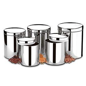 Conjunto de Potes para Mantimentos com Tampa Brinox Prata