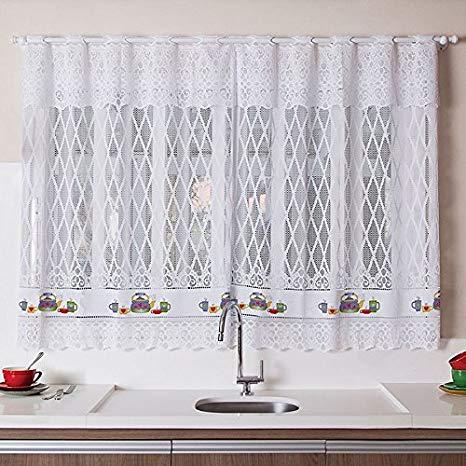Cortina para Cozinha Interlar 200x120 cm e Bandô de 20 cm Chaleira