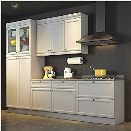 Cozinha Americana Compacta com Balcão Paneleiro e Tampo 4 Peças Nesher Móveis Branco