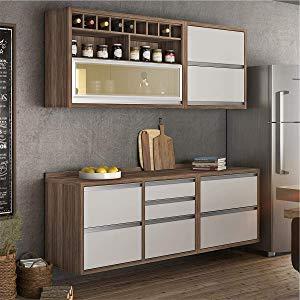 Cozinha Compacta com Balcão e Tampo 4 Peças Baronesa Nesher Móveis Branco