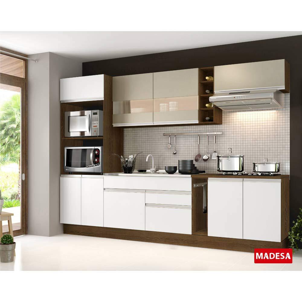 Cozinha Completa Madesa Francine 7 Peças 9 Portas Branco/Tirol