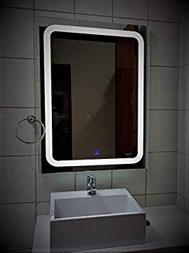 Espelho Retangular com LED por Igual. Função Liga/Desliga. Touch no próprio espelho. Bivolt