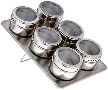 Jogo de 6 Porta Condimentos Inox com Suporte Retangular Mimo Style Prata