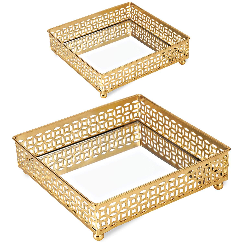 Kit Bandeja Dourada em Metal com Espelho - 2 Pçs, Mart, Dourada, Mart Collection