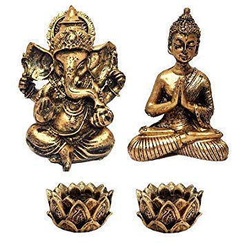 Kit Mini Estátua Ganesha + Buda Hindu + 2 Castiçais
