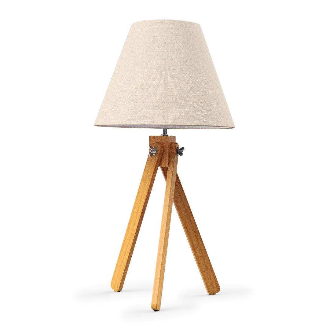 Luminária de mesa tripé em madeira