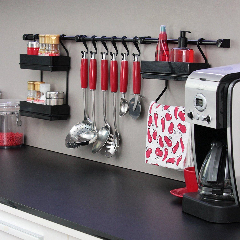 Metaltru MAV102, Kit com 3 Peças Organizadores para parede da Cozinha, Preto