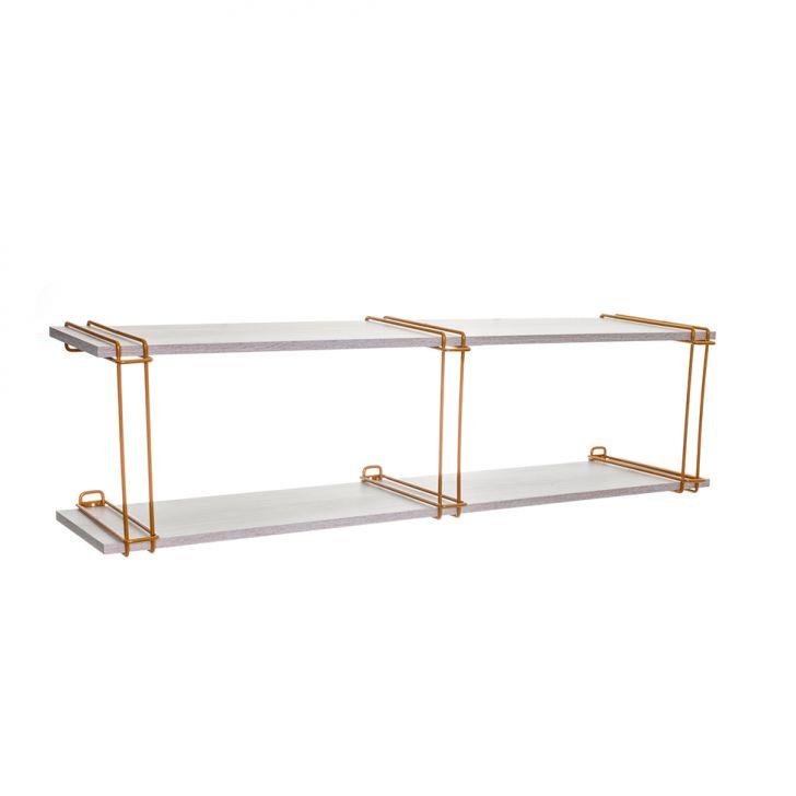 Prateleira Epsillon Dourada e Legno 116 cm