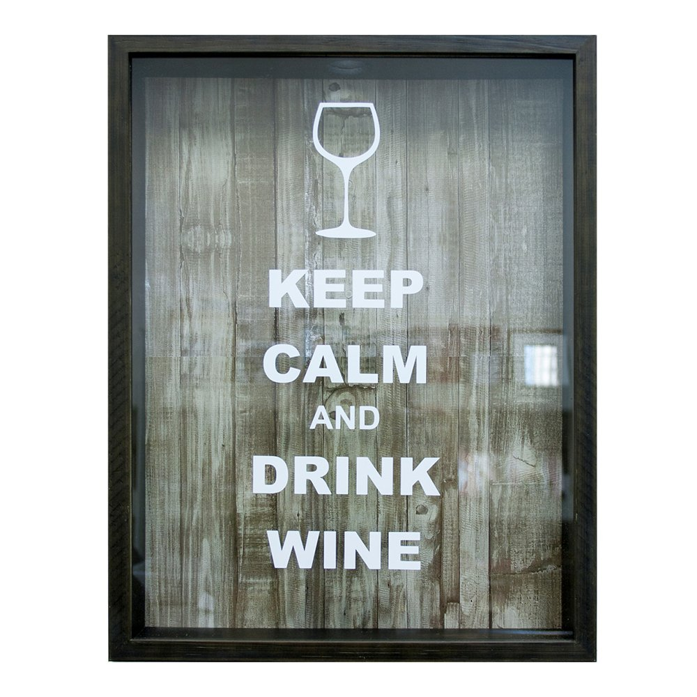 "Quadro Porta Rolhas, Kapos, ""Keep Calm and Drink Wine"", 32x42cm"