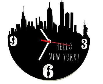 Relógio de Parede Decorativo, Modelo Hello New York Me Criative RPD Preto Pacote de 1