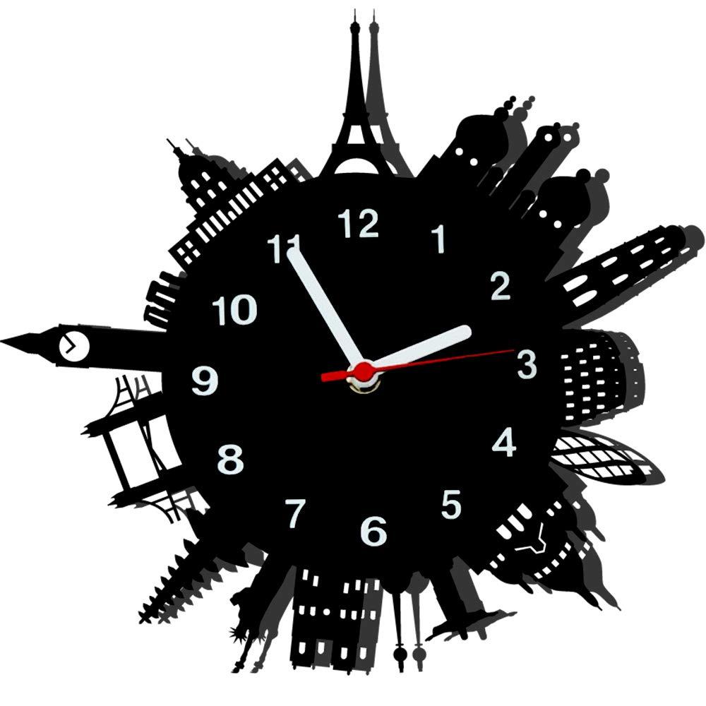 Relógio de Parede Decorativo, Modelo Mundo Me Criative RPD Preto Pacote de 1