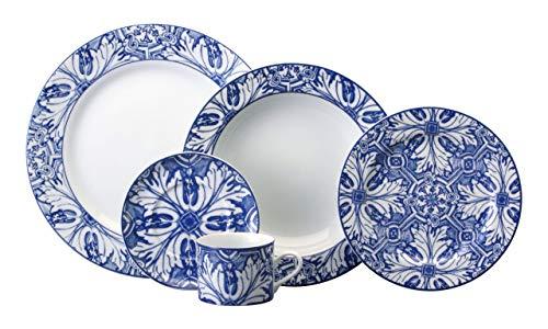 Serviço De Jantar E Chá 30 Peças Porcelana Schmidt Brasília. Decoração Azulejos. Assinada Por Francesca Romana Diana Azul Pacote De 30 No Voltagev