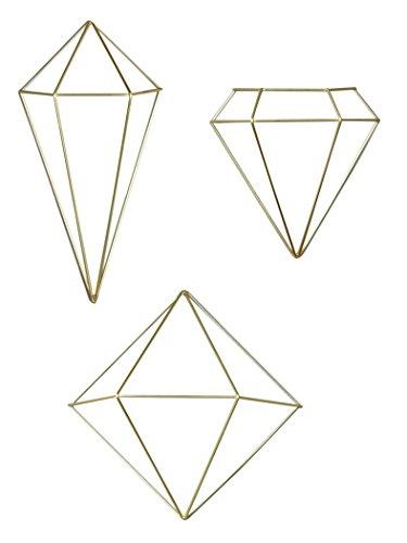Adorno De Parede Prisma Em Metal Umbra Dourado