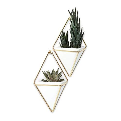 Adorno de Parede, Vaso Trigg Conjunto com 2 Peças em cerâmica, Umbra, Branco