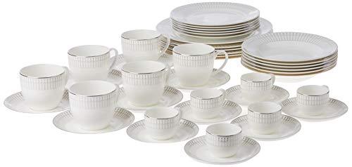 Aparelho De Jantar 42 Pcs De Porcelana Bone China Kiev Prateado Wolff Kiev Única No Voltagev