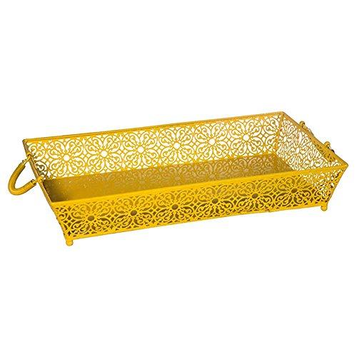 Bandeja Le Fleur Amarelo em Metal - Urban - 50x30 cm