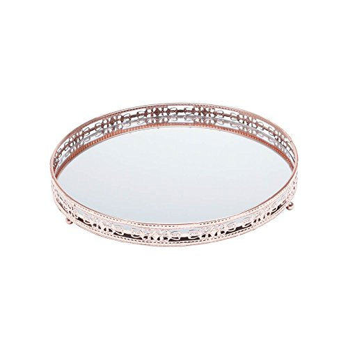 Bandeja Redonda de Ferro com Espelho Bronze 25cm Bunch Prestige