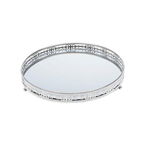 Bandeja Redonda de Ferro com Espelho Prata 29cm Bunch Prestige