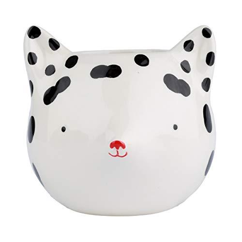 Cachepot Ceramica Fox With Dots Branca/preta 11, 8 X 10, 8 X 10 Cm Urban Branco/preto