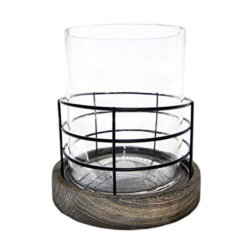 Castiçal vidro suporte madeira Wire 16x16x17,5cm Urban