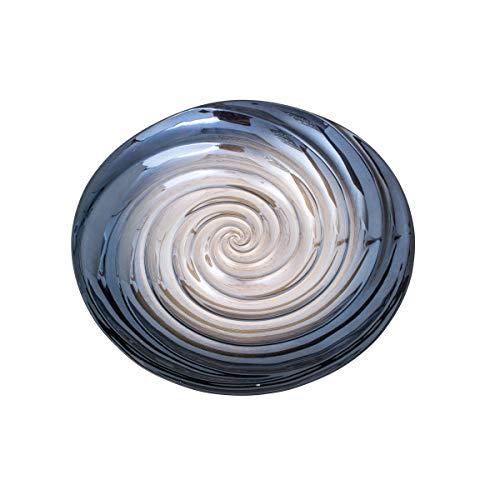 Centro De Mesa De Vidro Spiral 44x7, 5cm Lyor Prata E Cinza Único