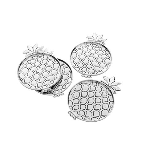 Cj 4 Porta Copos De Zamac Silver Plated Pineapple 12x9cm Lyor Prata No Voltagev