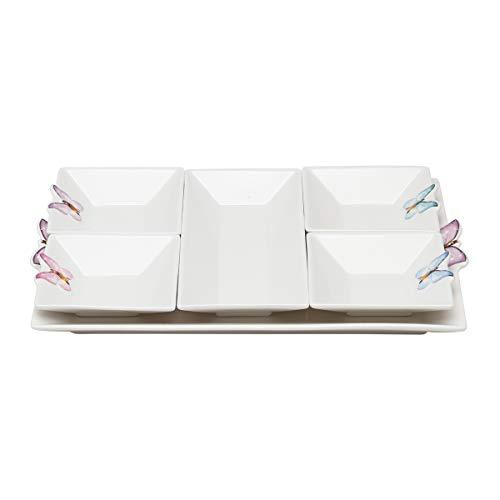 Cj 6 Peças Sendo 1 Bandeja e 5 Petisqueiras de Porcelana Borboleta Rojemac Branco / Rosa