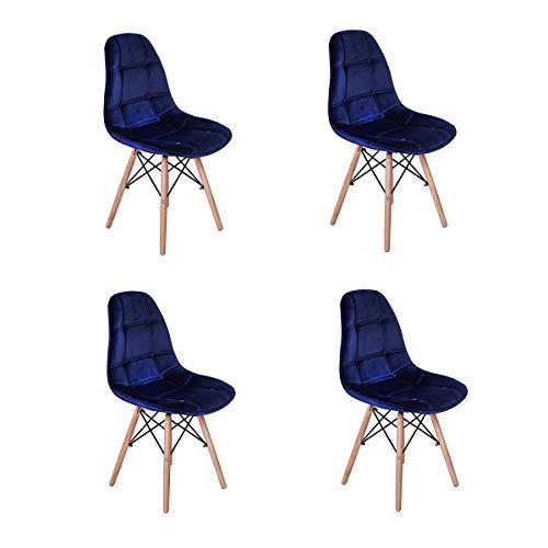 Conjunto 4 Cadeiras Eiffel Botonê Estofada Veludo Base Madeira - Azul Marinho