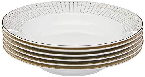 Conjunto 6 Pc Pratos De Porcelana De Sopa Bone China Kiev Dourado 20,5cm Wolff Kiev Única No Voltagev