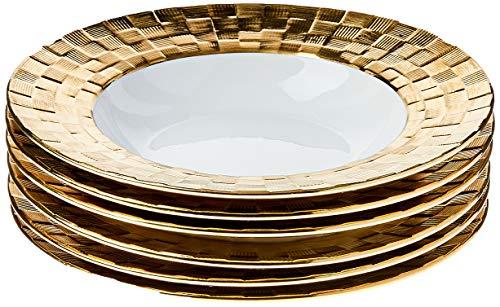 Conjunto 6 Pratos De Porcelana Fundos Vera Gold 21,5x4cm Wolff Indef Branco/dourado No Voltagev