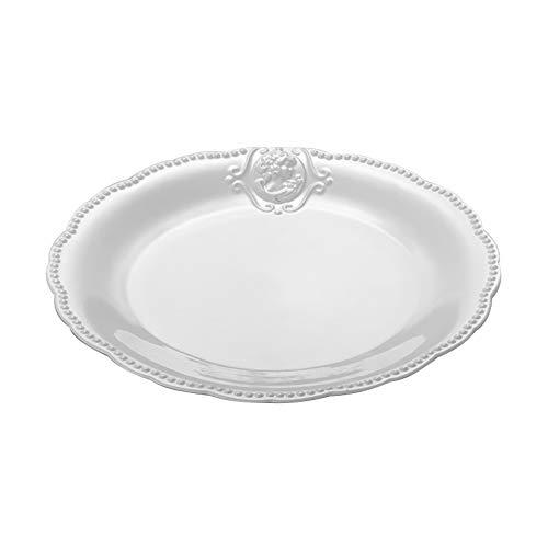 Conjunto 6 Pratos Rasos de Porcelana Queen Lyor Branco 27Cm