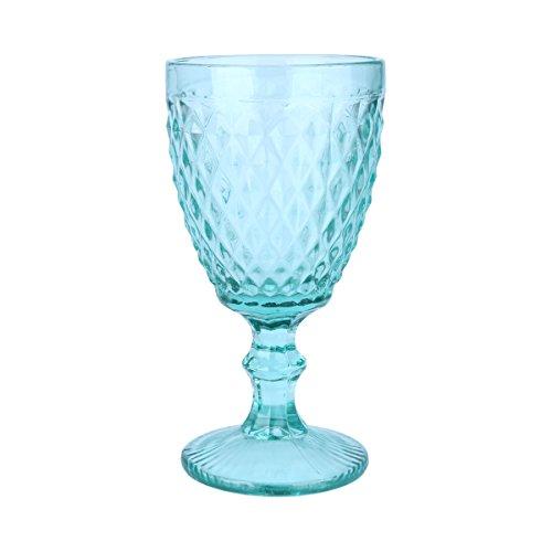 Conjunto 6 Taças para Água de Vidro Bico de Abacaxi Lyor Azul Tiffany 260Ml