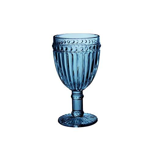 Conjunto 6 Taças para Vinho de Vidro Empire Lyor Azul 240Ml